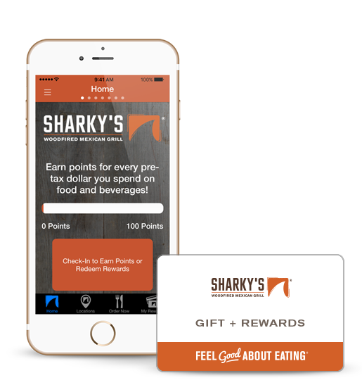 Sharky's App and Gift + Rewards Card